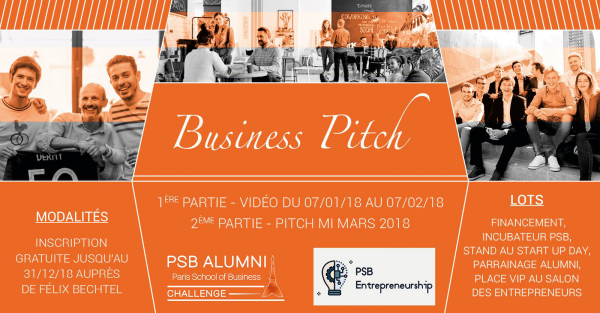 Participez au Business Pitch by PSB Alumni